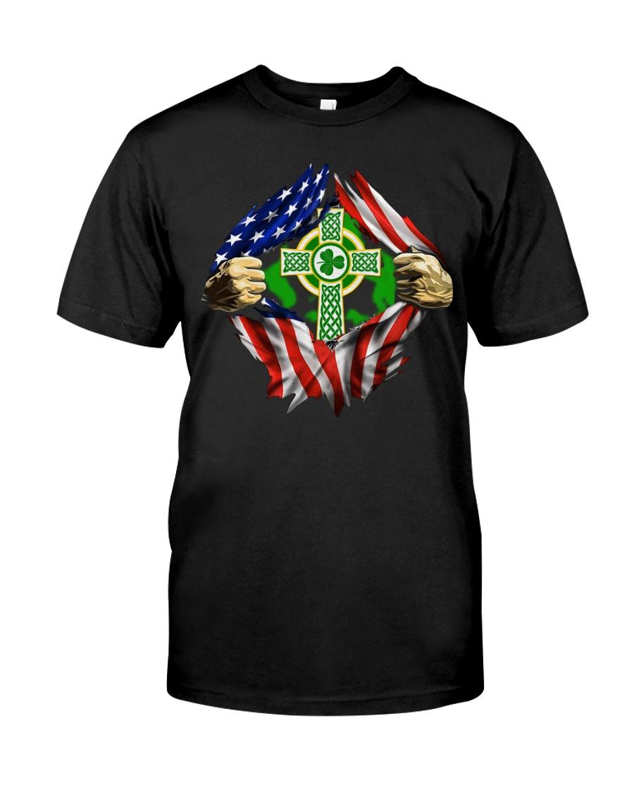 CPC - AMERICAN FLAG BREAKING IRISH CROSS Classic T-Shirt