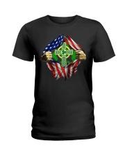 CPC - AMERICAN FLAG BREAKING IRISH CROSS Ladies T-Shirt thumbnail