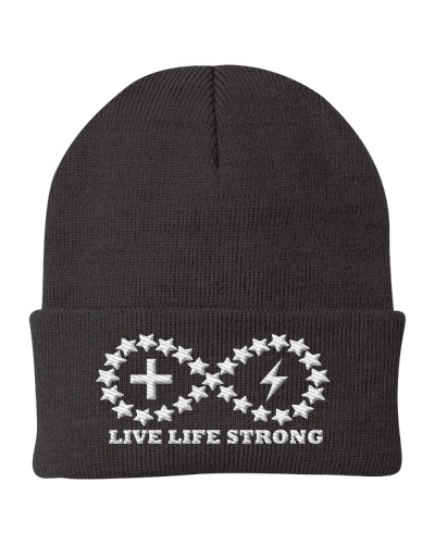 Live Life Strong Ivory Logo Beanie