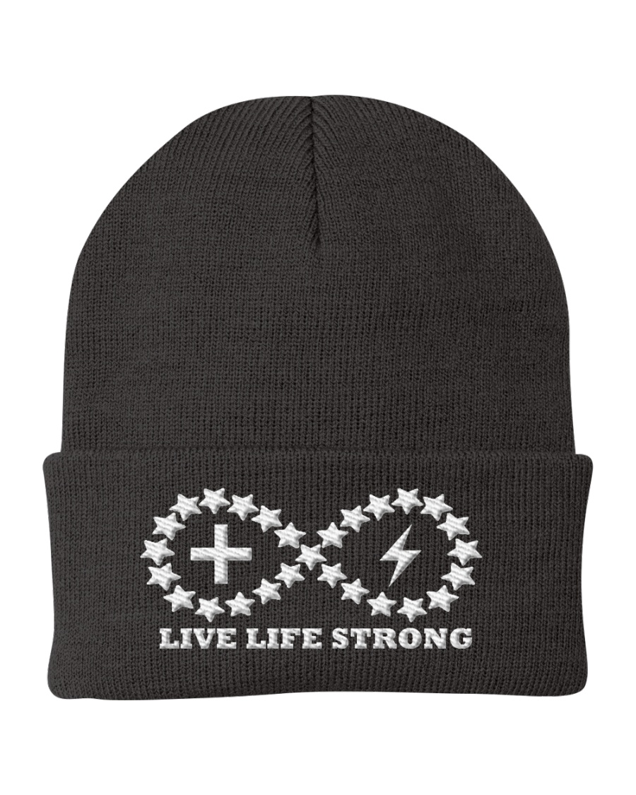 Live Life Strong Ivory Logo Beanie Knit Beanie