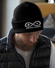 Live Life Strong Ivory Logo Beanie Knit Beanie garment-embroidery-beanie-lifestyle-06