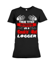 These Tities Are Protected By A LOGGER Premium Fit Ladies Tee thumbnail