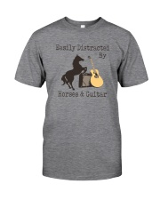EASILY DISTRACTED BY HORSES AND GUITAR Classic T-Shirt front