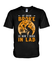 My broom broke so now I work in lab V-Neck T-Shirt thumbnail