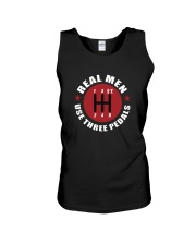 Real Men use Three Pedals  Unisex Tank tile
