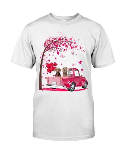 Weimaraner pink Truck Valentine's Day