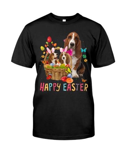 Basset Hound Happy Easter Basket Egg VC