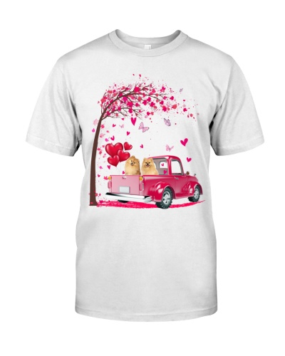 Pomeranian pink Truck Valentine's Day