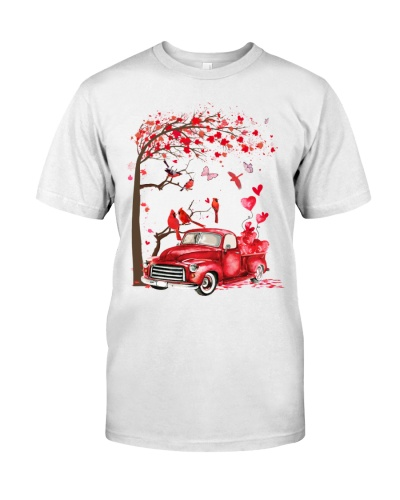 Cardinal bird red truck valentine