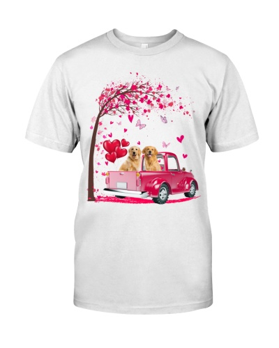 Golden Retriever Truck Valentine's Day