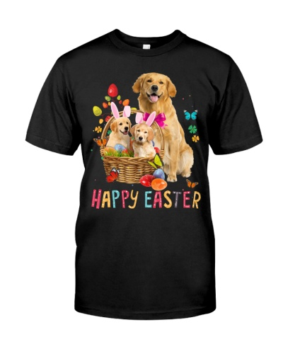 Golden Retriever Happy Easter Basket Egg VC