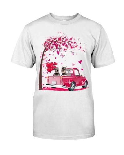 Schnauzer pink Truck Valentine's Day