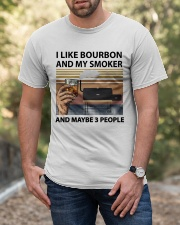 I LIKE BOURBON AND MY SMOKER Classic T-Shirt apparel-classic-tshirt-lifestyle-front-53