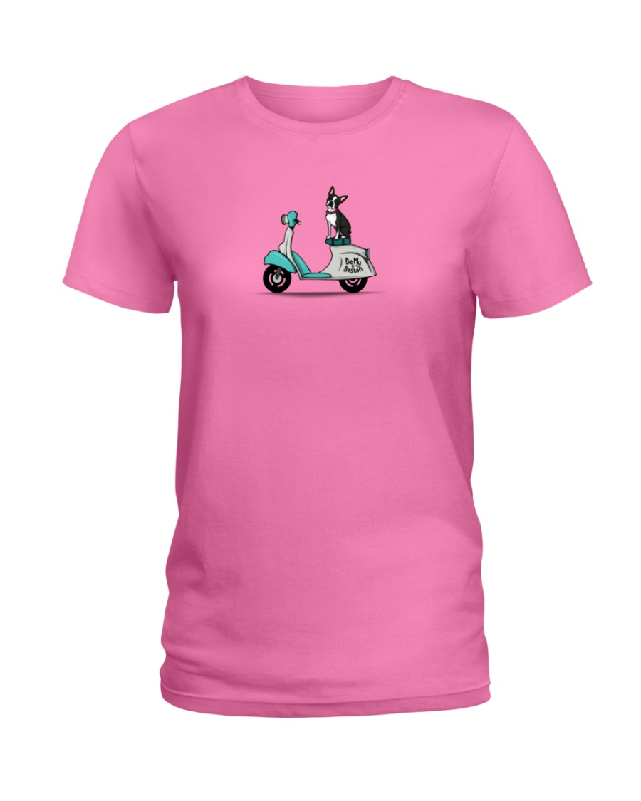 Boston Terrier Scooter Scooter Ladies T-Shirt