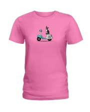 Boston Terrier Scooter Scooter Ladies T-Shirt front