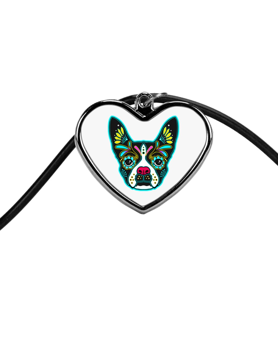 Be My Boston Sugar Skull Cord Heart Necklace