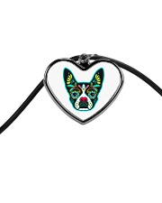Be My Boston Sugar Skull Cord Heart Necklace front