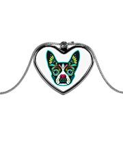 Be My Boston Sugar Skull Metallic Heart Necklace thumbnail