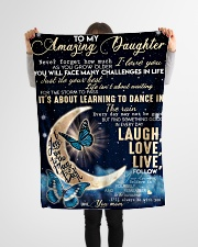 """To Daughter - Believe In Yourself Small Fleece Blanket - 30"""" x 40"""" aos-coral-fleece-blanket-30x40-lifestyle-front-14"""