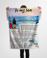 "To Son - I'm Proud Of You - Small Fleece Blanket - 30"" x 40"" aos-coral-fleece-blanket-30x40-lifestyle-front-14"