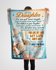 """To Daughter - Stood Against Your Fear - Small Fleece Blanket - 30"""" x 40"""" aos-coral-fleece-blanket-30x40-lifestyle-front-14"""