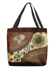 Peace Love Sunflower Leather Pattern Print  All-over Tote back