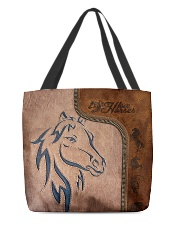 Love horses leather pattern print All-over Tote front