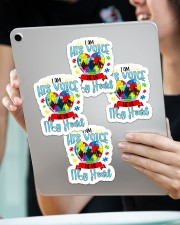 I am his voice he is my heart Sticker - 4 pack (Vertical) aos-sticker-4-pack-vertical-lifestyle-front-11
