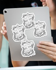 What doesn't kill you gives you XP Sticker - 4 pack (Vertical) aos-sticker-4-pack-vertical-lifestyle-front-11