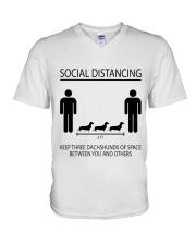 Social distancing dachshund V-Neck T-Shirt thumbnail