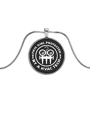 THIS GIRL PROTECTED  BY A HVAC TECH Metallic Circle Necklace thumbnail