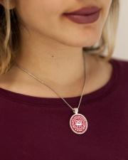 THIS GIRL PROTECTED  BY A HVAC TECH Metallic Circle Necklace aos-necklace-circle-metallic-lifestyle-1