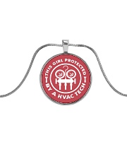 THIS GIRL PROTECTED  BY A HVAC TECH Metallic Circle Necklace front