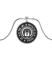 this girl protected by a viking Metallic Circle Necklace thumbnail