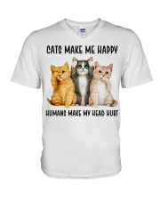 CATS MAKE ME HAPPY V-Neck T-Shirt thumbnail