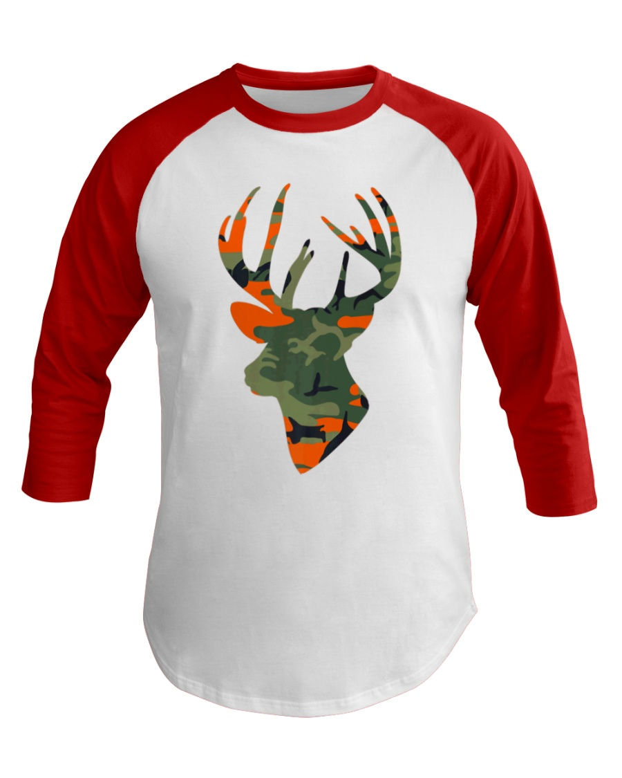 Deer Head Country Buck Fashion Hunting Gift Baseball Tee