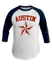 Austin TX Texas Cowboy Star Vintage Style Baseball Tee front