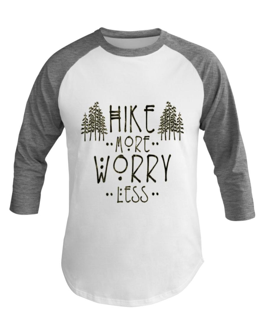 Hike More Worry Less Hiking Camping Outdoors Baseball Tee