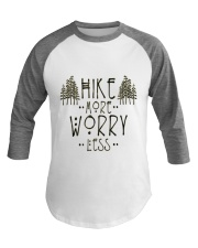 Hike More Worry Less Hiking Camping Outdoors Baseball Tee front