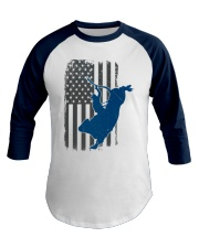 Bull Riding Rodeo Cowboy Vintage American Flag Baseball Tee front