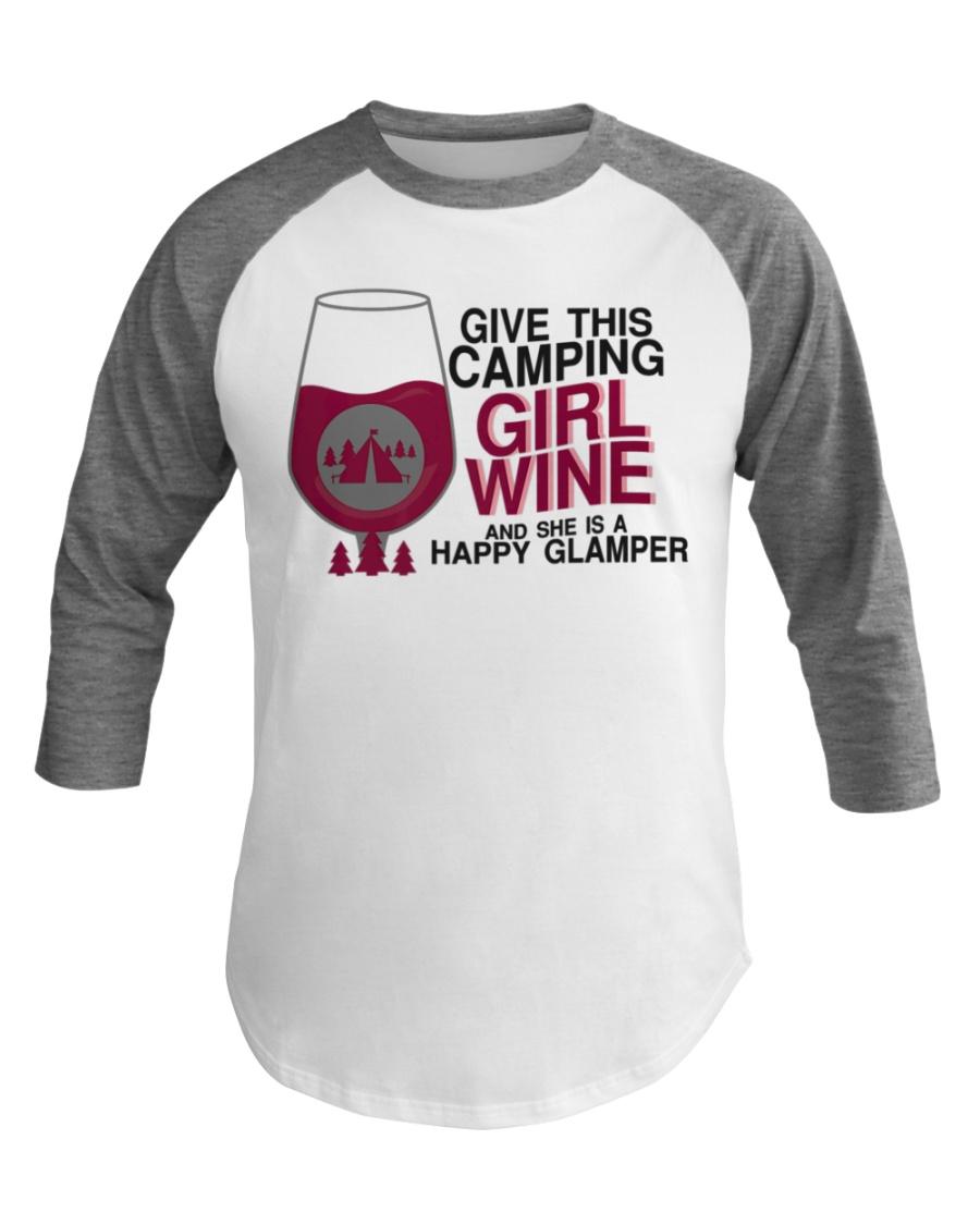 Happy Camping Girl Wine Funny Baseball Tee