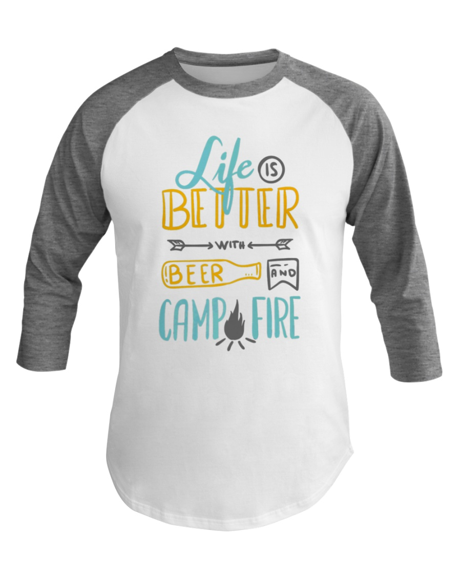 Funny Hilarious Camping Beer Outdoor Baseball Tee