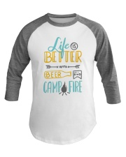 Funny Hilarious Camping Beer Outdoor Baseball Tee front