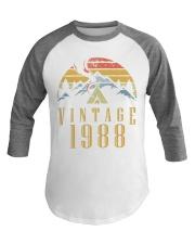1988 Vintage Baseball tee 30th Birthday Camper Baseball Tee front