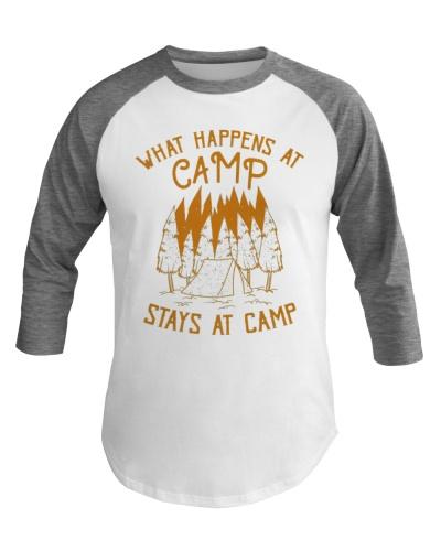 Fun Camping Baseball Tee What Happens At Camp