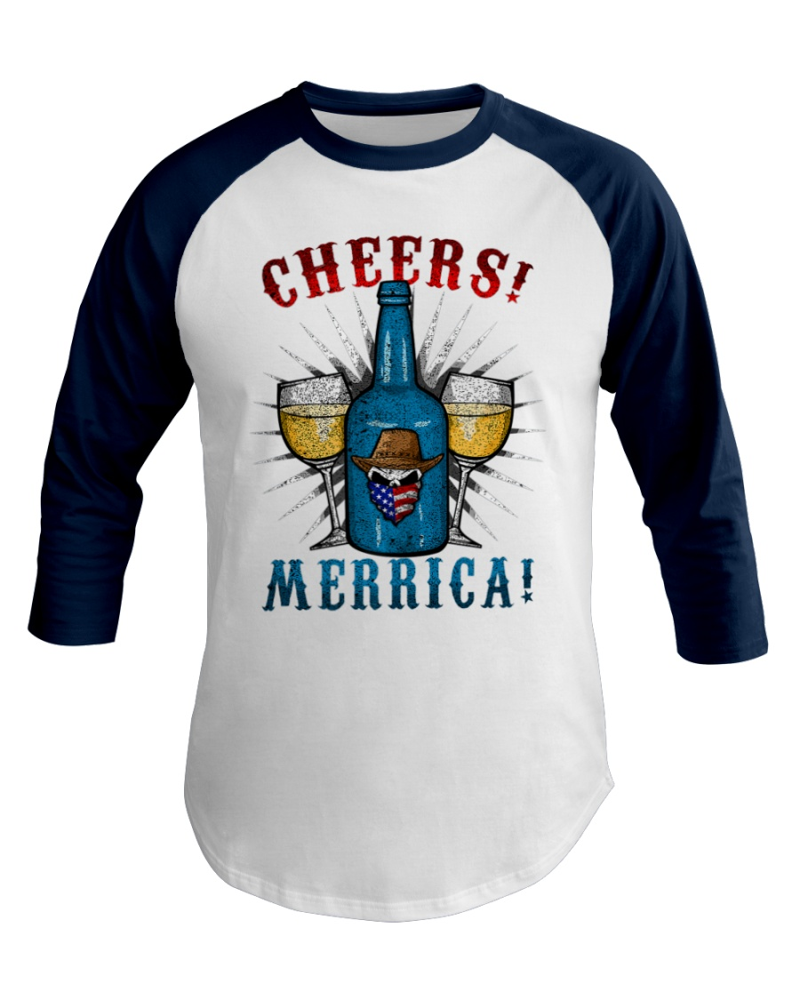 4th of July Patriotic Skull Cowboy hat Bear Baseball Tee