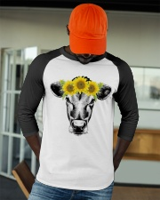 Cow with sunflower Awesome gift for cattle lovers Baseball Tee apparel-baseball-tee-lifestyle-09