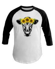 Cow with sunflower Awesome gift for cattle lovers Baseball Tee front