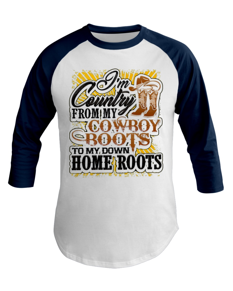 Country from Cowboy Boots To Roots Cowboys Gift Baseball Tee