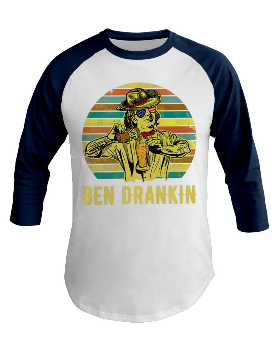 Benjamin Franklin Ben Drankin cowboy hat Beer Baseball Tee